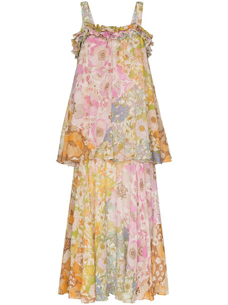 Zimmermann tiered strappy maxi dress in green