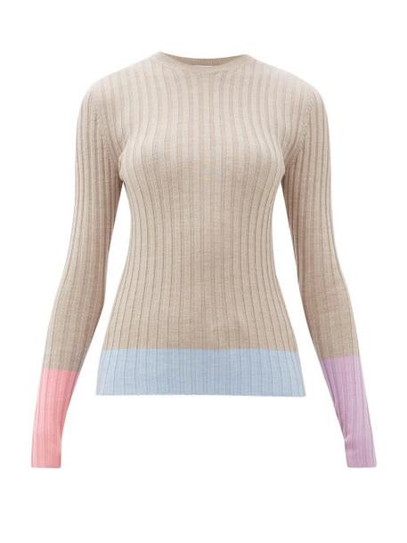 Jw Anderson - Colour-block Merino-wool Sweater - Womens - Beige Multi