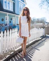 dress,mini dress,lace dress,white dress,white bag,sandals