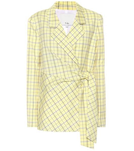 Tibi Checked wool-blend wrap blazer in yellow