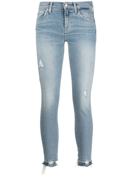 7 For All Mankind mid-rise skinny jeans in blue