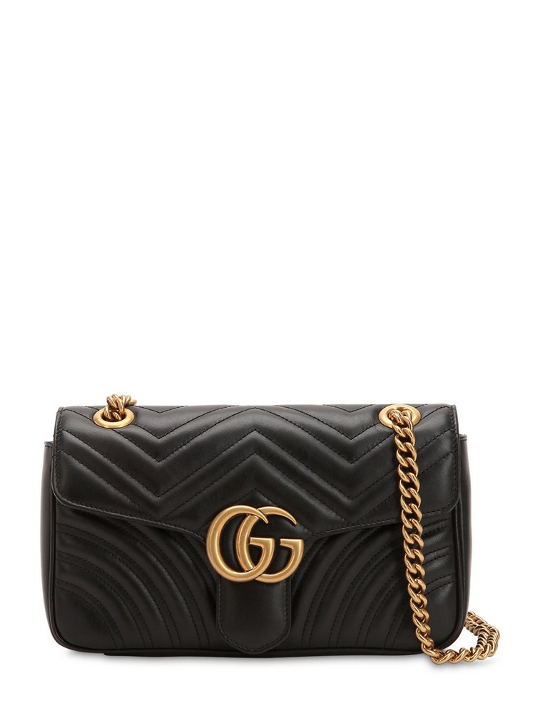 GUCCI Small Gg Marmont 2.0 Leather Bag in black