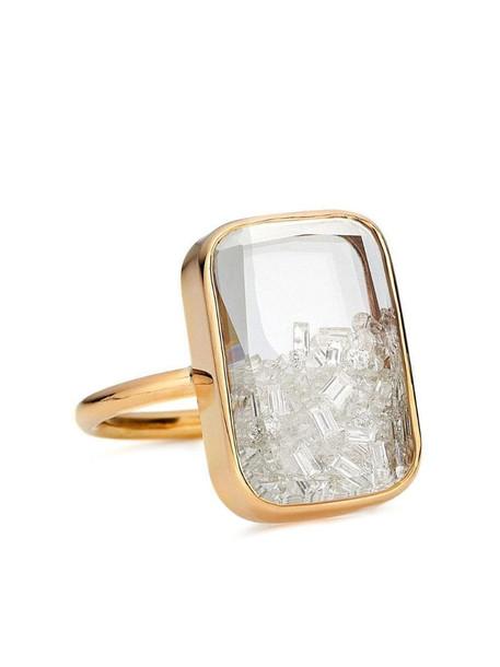 Moritz Glik 18kt yellow gold rectangular diamond shaker ring