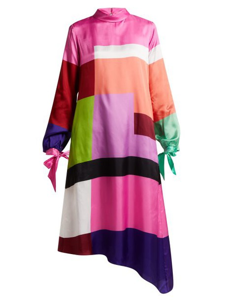 Mary Katrantzou - Leonora Colour Block Satin Twill Dress - Womens - Multi
