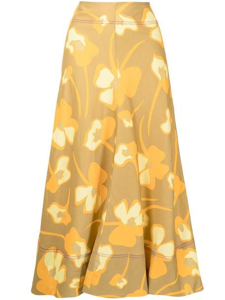 Lee Mathews Wren floral-print skirt in yellow