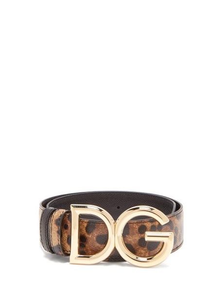 Dolce & Gabbana - Dg Buckle Leopard Print Leather Belt - Womens - Brown