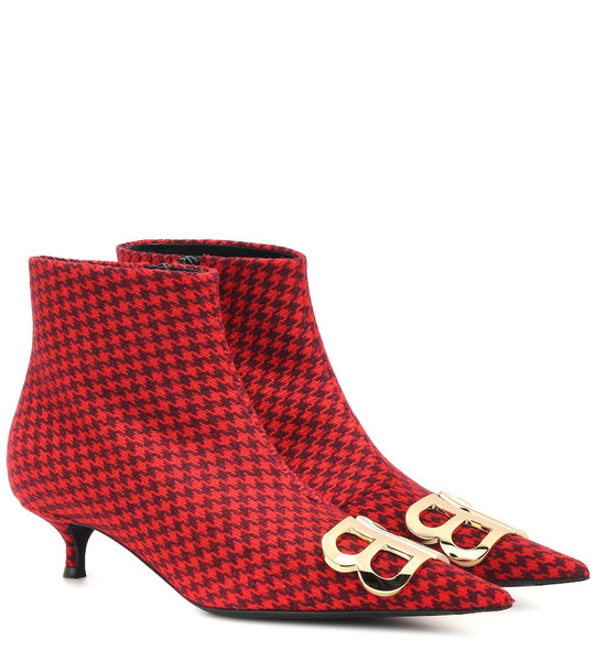 Balenciaga BB printed wool ankle boots in red
