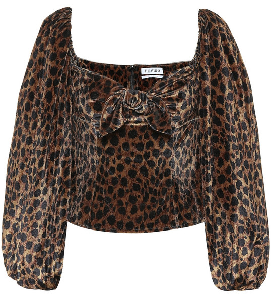 The Attico Leopard-print stretch-velvet top in brown
