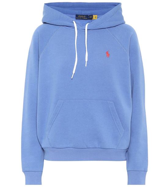 Polo Ralph Lauren Cotton-blend jersey hoodie in blue