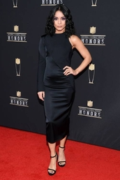 shoes,sandals,sandal heels,celebrity,vanessa hudgens,asymmetrical,asymmetrical dress,little black dress