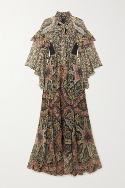 Etro - Ruffled Paisley-print Silk-chiffon Maxi Dress - Black