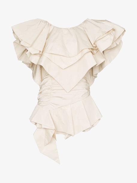 Alexandre Vauthier layered-ruffle structured mini-dress in white