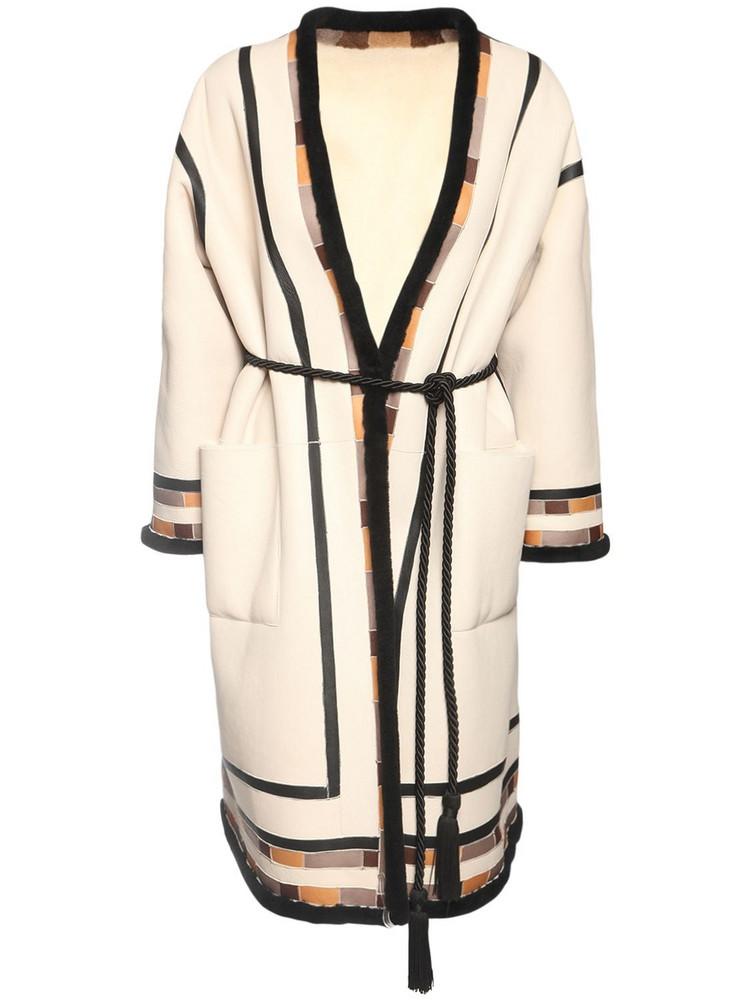 BLANCHA Intarsia Wool Shearling Coat in ivory / multi
