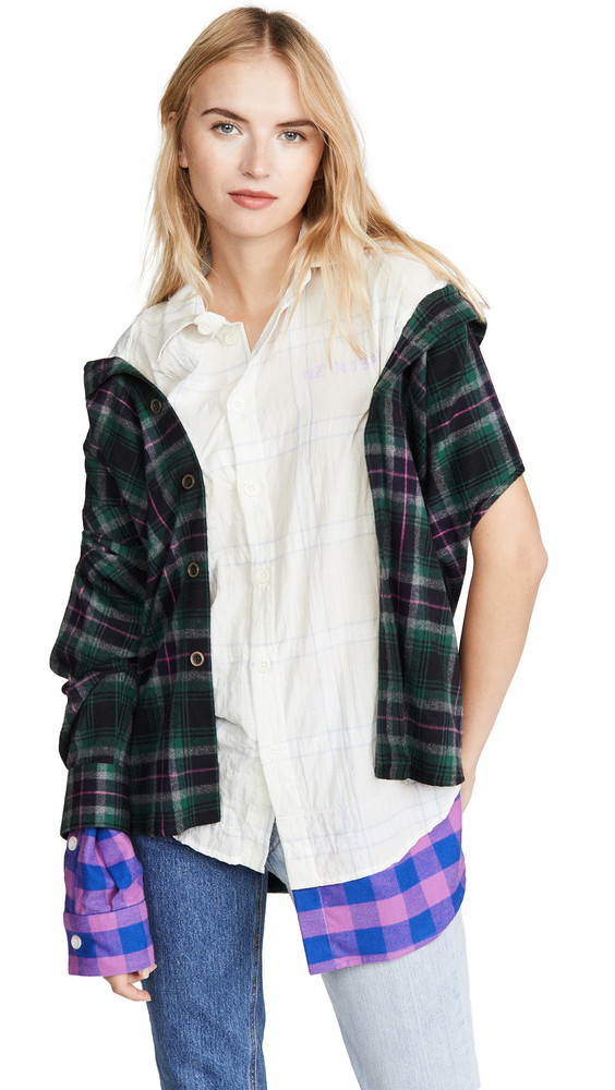 Natasha Zinko Oversized Combo Asymmetric Shirt in green / lilac / white