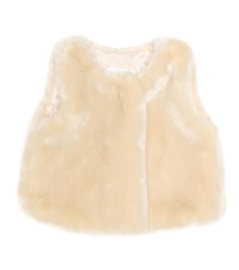 Chloé Kids Baby faux fur vest in beige