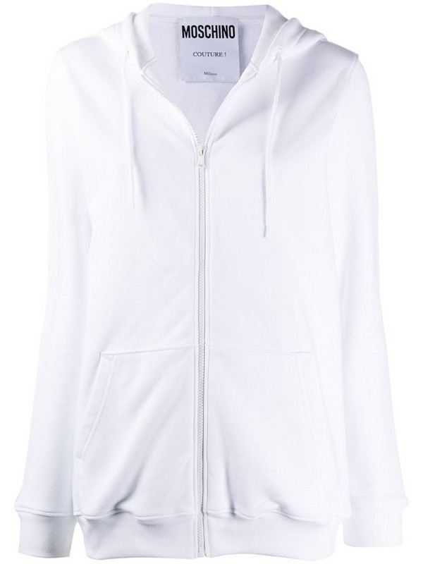 Moschino zip-up logo-print hoodie in white