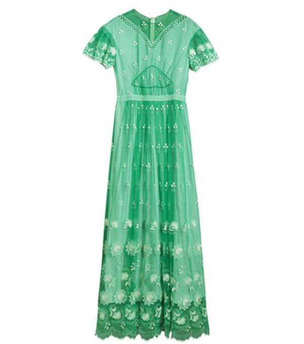 Burberry Embroidered tulle dress in green
