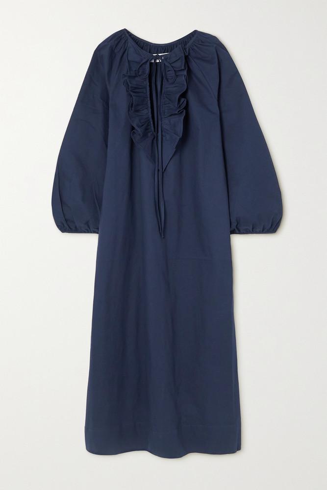 ÀCHEVAL PAMPA ÀCHEVAL PAMPA - + Net Sustain Gorrion Ruffled Stretch-cotton Satin Maxi Dress - Blue
