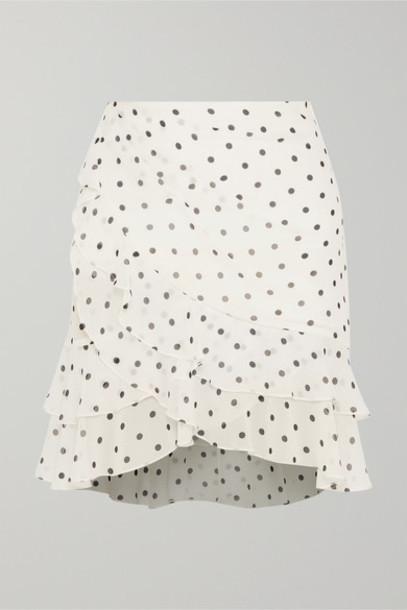 Balmain - Ruffled Polka-dot Silk-georgette Mini Skirt - White