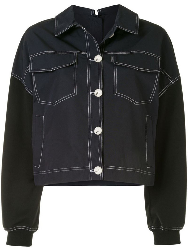 PortsPURE contrast stitch jacket in blue
