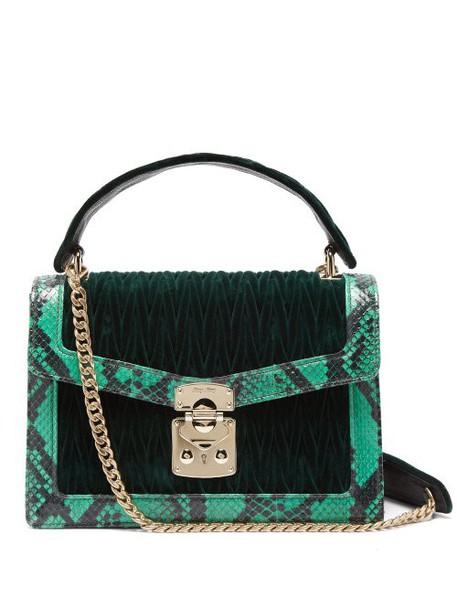 Miu Miu - Confidential Matelassé Quilted Velvet Shoulder Bag - Womens - Dark Green