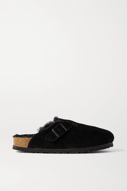 BIRKENSTOCK - Boston Shearling-lined Suede Slippers - Black