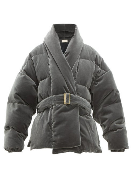 Alexandre Vauthier - Belted Down Filled Cotton Velvet Jacket - Womens - Light Grey
