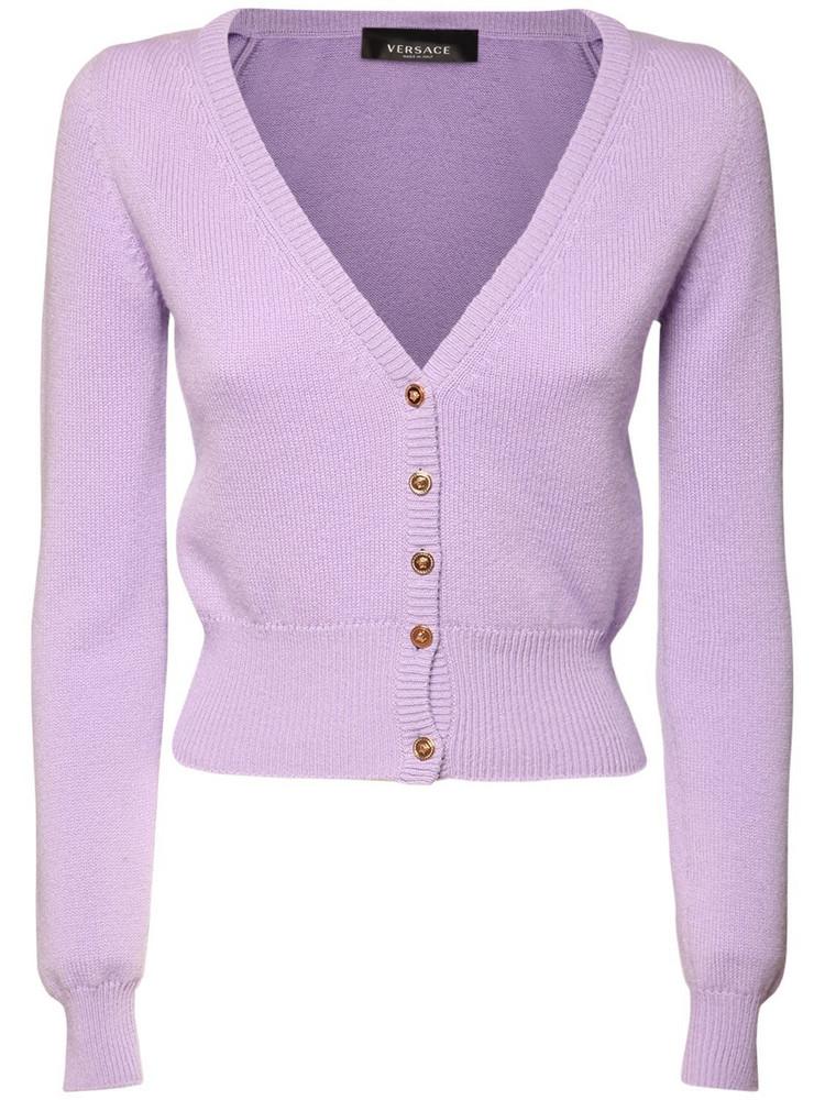 VERSACE Cashmere Mini Cardigan in lilac