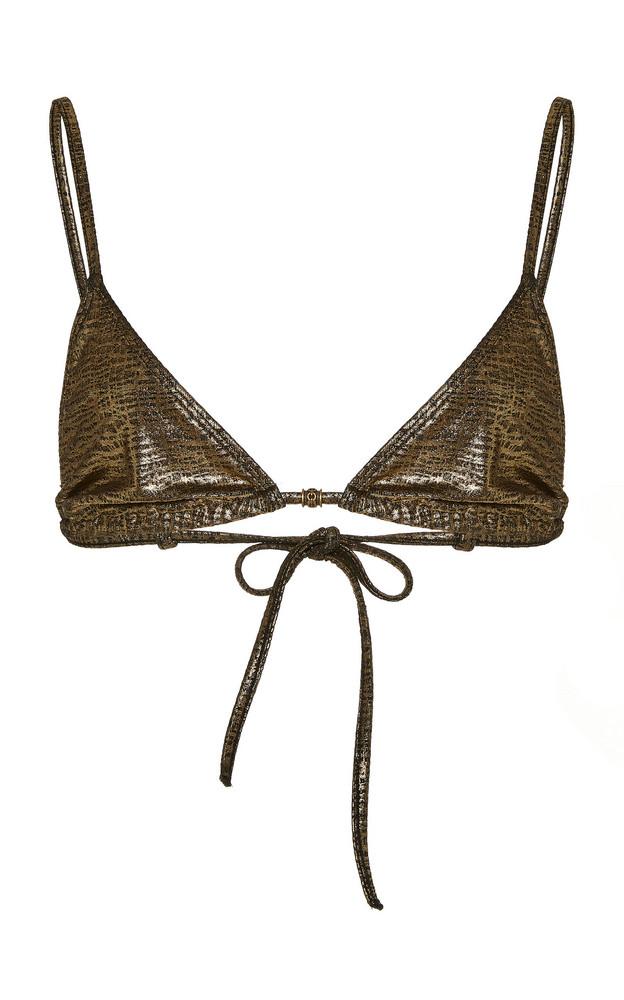 Marie France Van Damme Metallic Bikini Set Size: 0 in gold