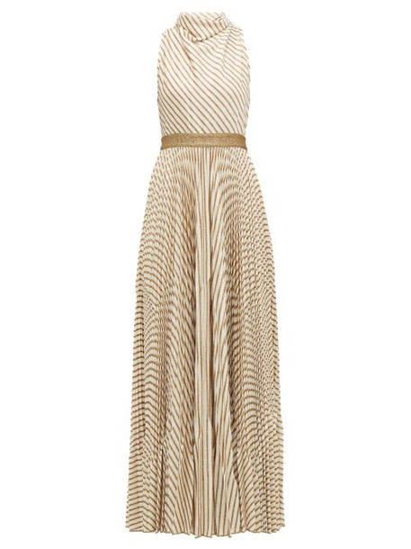 Missoni - Pleated Metallic Striped Knitted Gown - Womens - Cream Gold