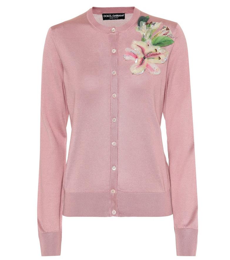 Dolce & Gabbana Embellished silk cardigan in pink