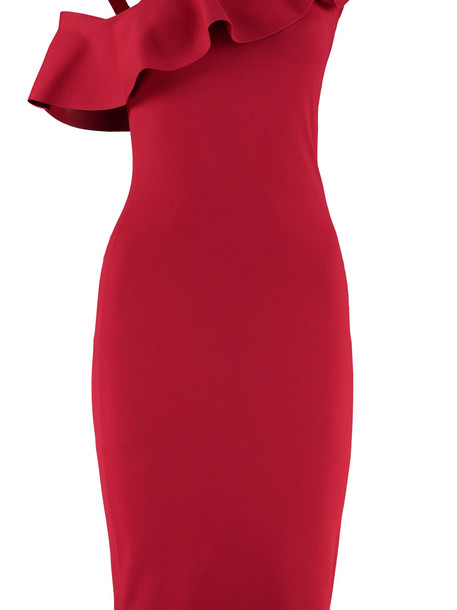 D.Exterior Jersey Sheath Dress in red