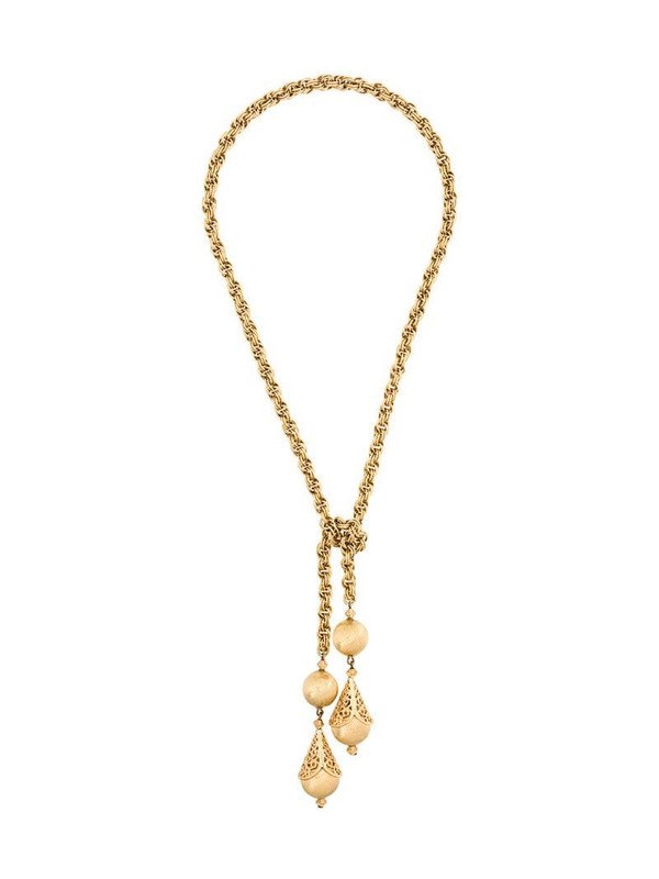Monet Pre-Owned 1970s Filigree Lariat Necklace in gold