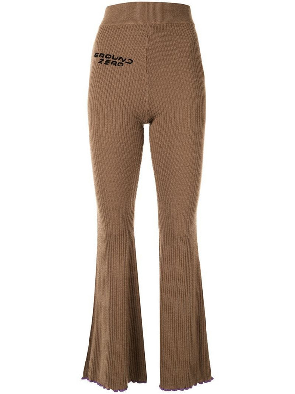 Ground Zero flared ribbed knit trousers in brown