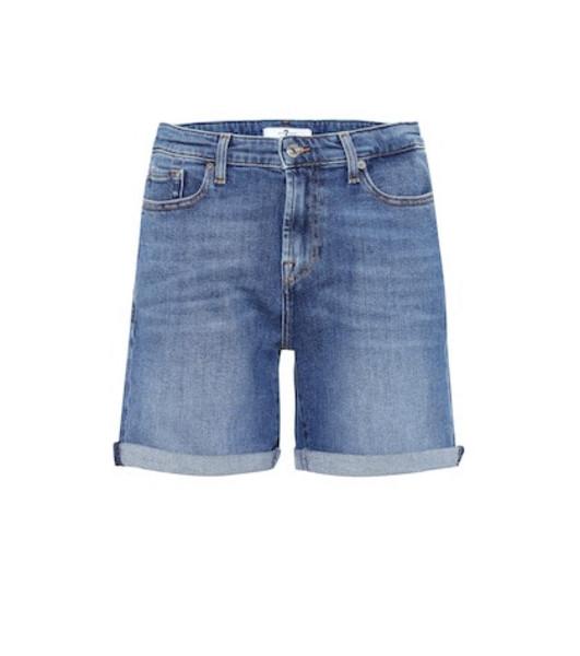 7 For All Mankind Boy high-rise denim shorts in blue