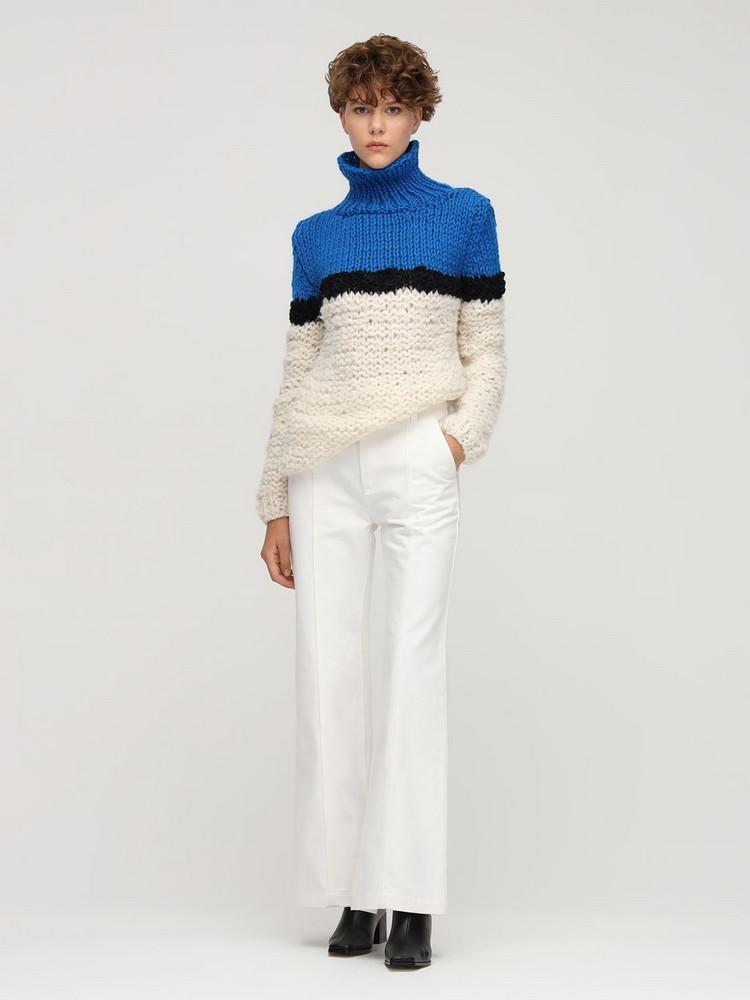 GUDRUN & GUDRUN Idun Wool & Alpaca Sweater in black / blue / white