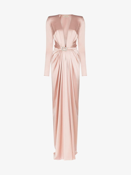 Alexandre Vauthier Ruched belted silk gown in pink