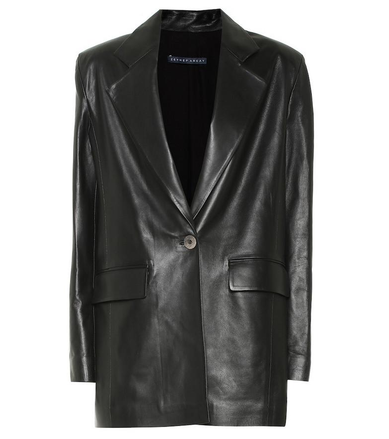 Zeynep Arçay Leather blazer in black