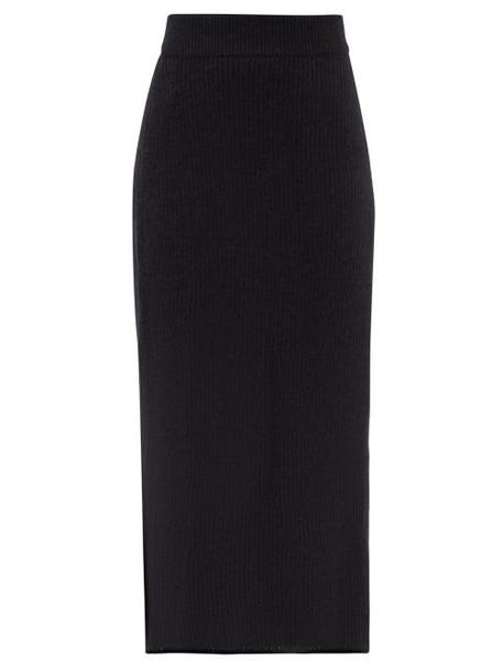 Raey - Mohair-silk Blend Ribbed Pencil Skirt - Womens - Black