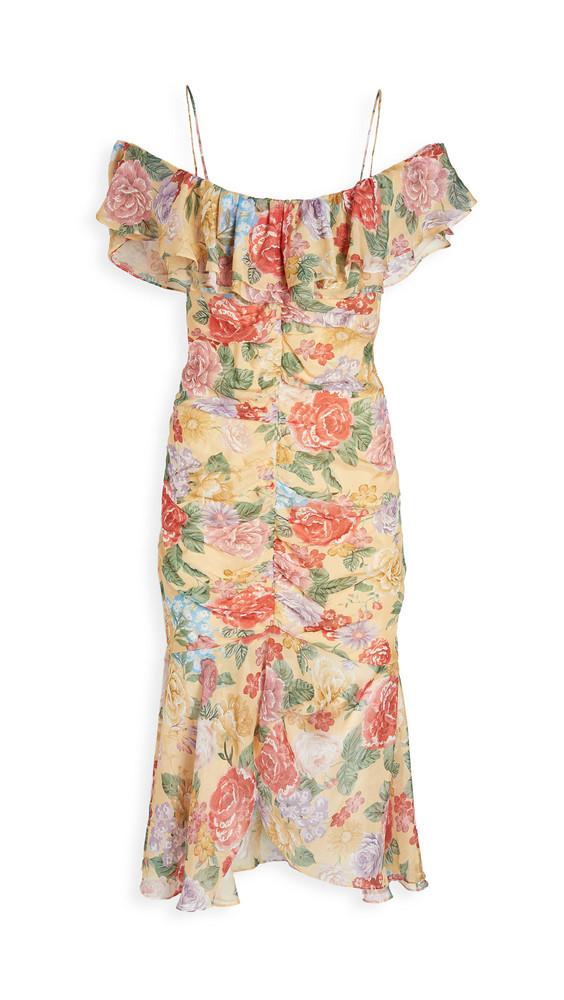 Divine Heritage Spaghetti Strap Ruffle Cold Shoulder Dress in rose