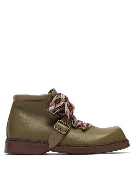 Preen By Thornton Bregazzi - Zen Square Toe Leather Boots - Womens - Khaki