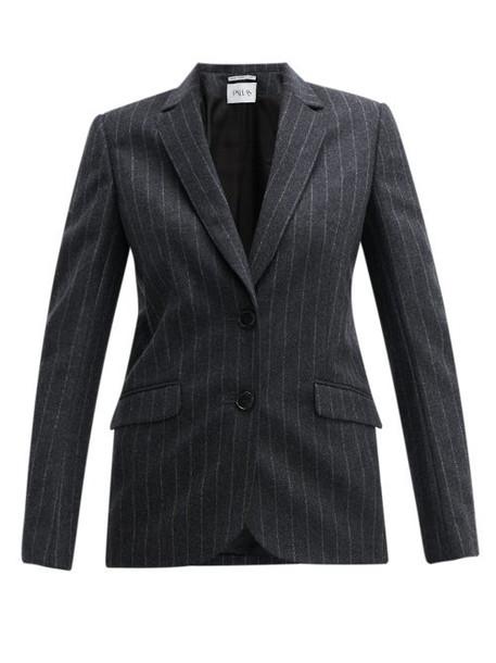 Pallas X Claire Thomson-jonville - Fidji Single Breasted Chalk Striped Wool Jacket - Womens - Grey Multi
