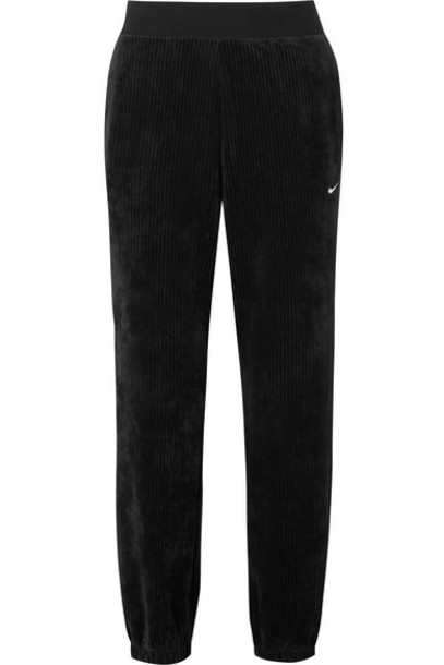 Nike - Embroidered Ribbed Stretch-velour Tapered Track Pants - Black