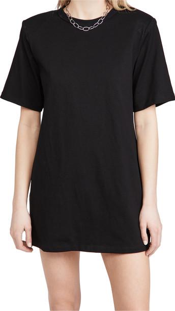 endless rose Shoulder Padded T-Shirt Dress in black