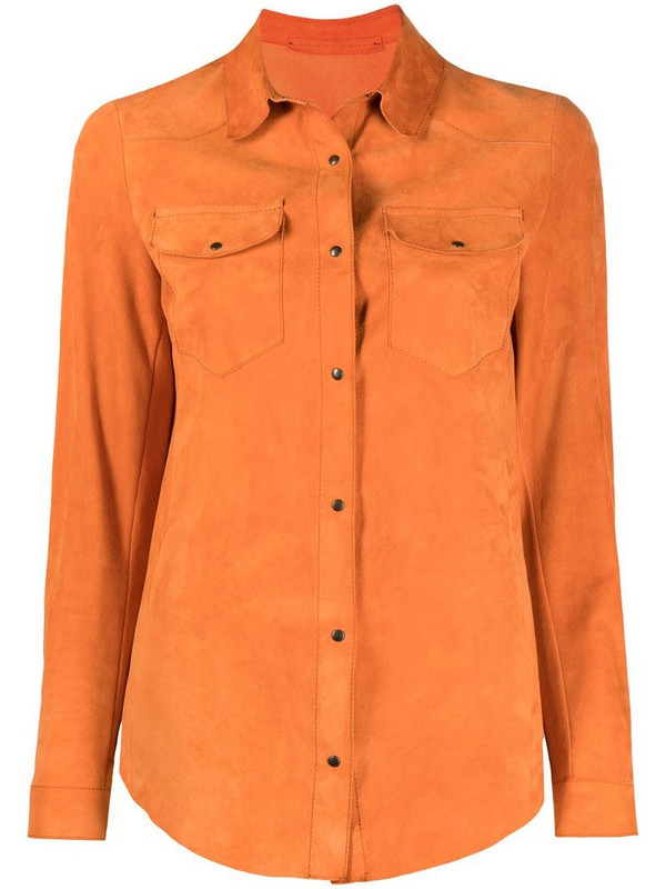 Salvatore Santoro suede utility shirt in orange