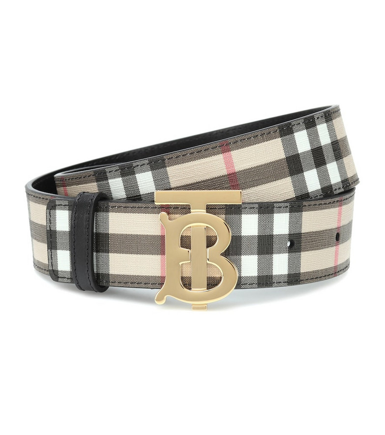 Burberry TB Check leather-trimmed belt in beige