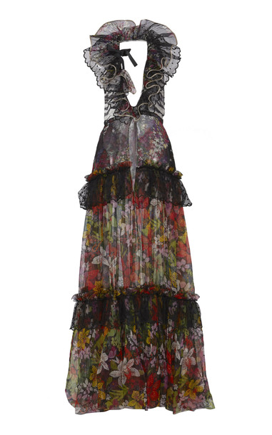 Dundas Ruffled Floral Gown in multi