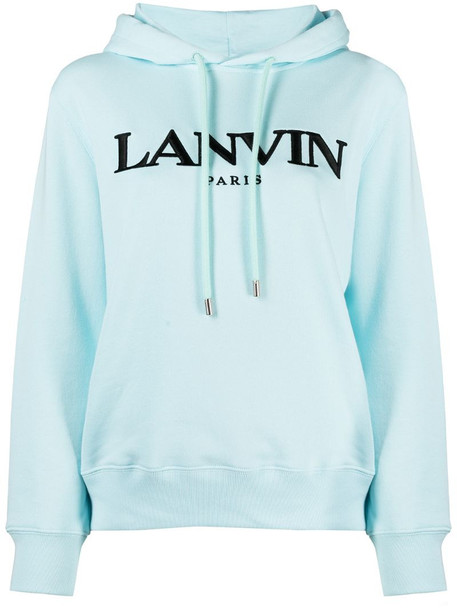 LANVIN logo-embroidered hoodie in blue