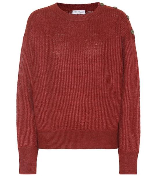 Brunello Cucinelli Linen and silk sweater in red