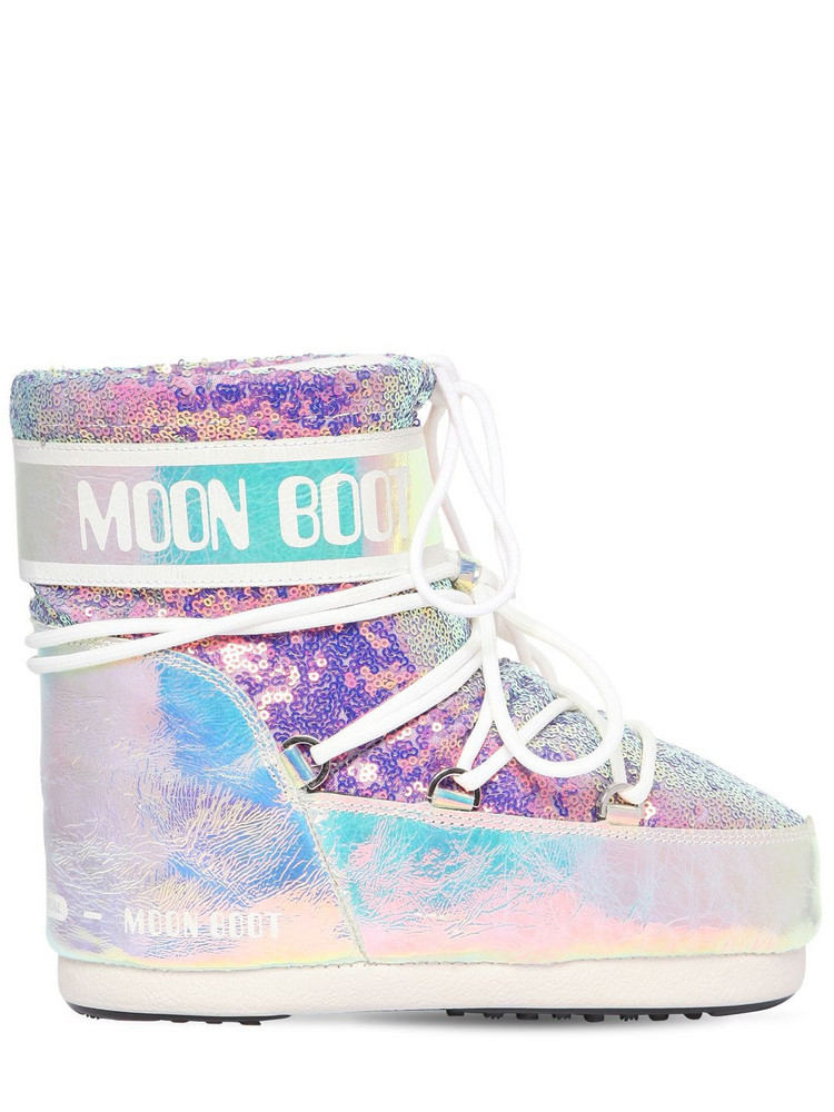 MOON BOOT 50mm Leather & Sequined Snow Boots in silver / multi